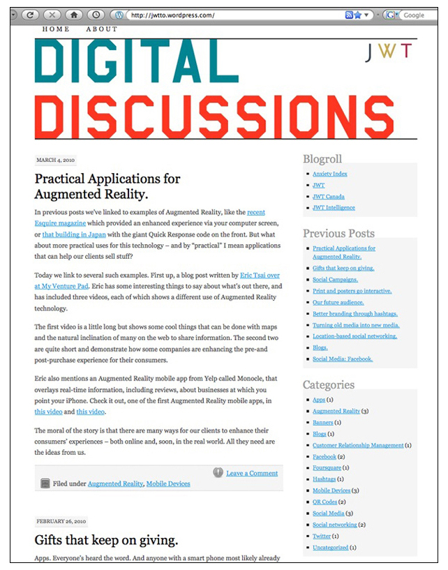 Digital Discussions blog example